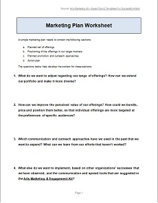 Worksheets Marketing Plan Worksheet how to write a simple marketing plan arts engagement kit click download our worksheet