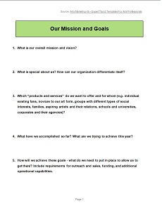click to download our mission and goals template